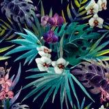 Hibiscus ορχιδεών σχεδίων τροπικοί κύκλοι watercolor φύλλων Στοκ φωτογραφίες με δικαίωμα ελεύθερης χρήσης
