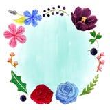 Hibiscus, τουλίπα και αυξήθηκαν ρομαντικό πλαίσιο λουλουδιών Watercolor διανυσματική απεικόνιση