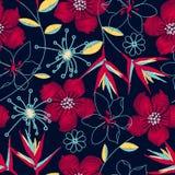 Hibiscus τροπικό υφαμένο άνευ ραφής σχέδιο κεντητικής Στοκ Εικόνες
