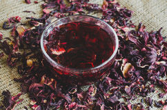 Hibiscus τσάι στον καμβά Στοκ Φωτογραφίες