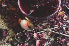 Hibiscus τσάι στον καμβά Στοκ εικόνες με δικαίωμα ελεύθερης χρήσης