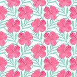 hibiscus Безшовная картина с цветками и листьями ладони рука нарисованная предпосылкой также вектор иллюстрации притяжки corel Стоковое Фото
