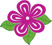 Hibiscus. An illustraion of a pink Hibiscus with leaves. Also in .ai file royalty free illustration