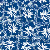 Hibiscus blue flowers and tropical leaves in a seamless pattern Royalty Free Stock Photos