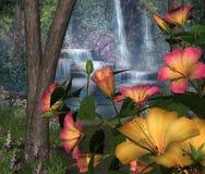 Hibiscus-Blumen u. Wasserfälle lizenzfreie abbildung