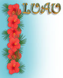 Hibiscus border Luau Invitation  Royalty Free Stock Photos