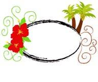 Hibiscus e palmeiras Fotografia de Stock Royalty Free