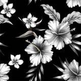 Hibiscus en palmbladen tropische naadloze achtergrond stock illustratie