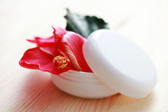 Hibiscus face cream Stock Photos