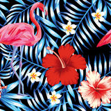 Hibiscus flamingo plumeria palm leaves blue pattern. Beautiful bird pink flamingo, hibiscus and frangipani flower on a background of palm leaves in trendy blue Royalty Free Stock Image