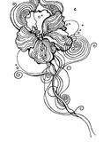 Hibiscus Flower. A decorative line drawing; hand created with ink, then traced in Adobe Illustrator Stock Photo