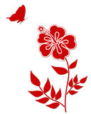 Hibiscus flower with butterfly . Hibiscus flower with butterfly in red Stock Image