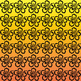 Hibiscus Flower Pattern. Black, repeating hibiscus flowers against a orange to yellow gradient background vector illustration