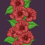 Hibiscus flower pattern by hand drawing. Tattoo art highly detailed in line art style.Red flower seamless pattern on batik cloth Stock Photos