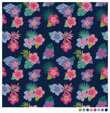 Hibiscus flower seamless patterm. Summer seamless pattern with hibiscus flower vector illustration