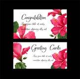 Hibiscus flowercan χρησιμοποιούνται ως ευχετήρια κάρτα και γαμήλιο invitati Στοκ Εικόνες