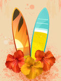Hibiscus Flowers And Surfboards Stock Images
