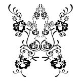 Hibiscus flowers drawing and sketch with line art Royalty Free Stock Image