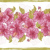 Hibiscus flowers endless border Stock Images