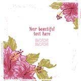 Hibiscus flowers retro card Stock Image
