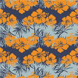 Hibiscus flowers seamless pattern. Vintage floral vector wallpaper in custom colors royalty free illustration