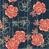 Hibiscus flowers wallpaper. Vector seamless pattern with hibiscus and tartan plaid texture stock illustration