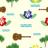 Hibiscus, guitars and palm trees Stock Photos