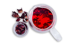 Hibiscus hot tea served in glass pitcher Royalty Free Stock Photography