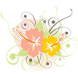 Hibiscus icon. With floral elements stock illustration