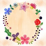 Hibiscus, Lily and Rose Romantic Flower Frame. Hibiscus, Lily, Rose and Clover Romantic Flower Frame for any purpose such as greeting card, wedding invitation Stock Illustration