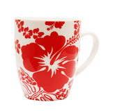 Hibiscus Mug. Floral Mug isolated with clipping path Stock Photos