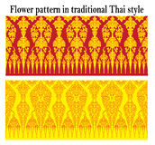 Hibiscus mutabilis pattern Background. Flower pattern in traditional Thai style Royalty Free Stock Photo