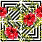 Hibiscus and palm leaves painting tropical floral pattern, geome Stock Image