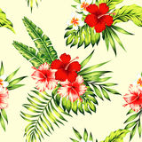 Hibiscus and palm leaves tropical seamless background Royalty Free Stock Image