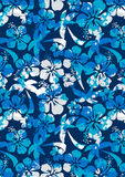 Hibiscus and palm pattern. Vector illustration of a tropical floral pattern Royalty Free Stock Images