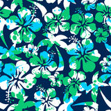 Hibiscus and palm seamless pattern Royalty Free Stock Images