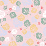 HIBISCUS PATTERN ON ROSY BACKGROUND. Vector Stock Photos