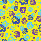 HIBISCUS PATTERN ON ROSY BACKGROUND Stock Image