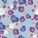 HIBISCUS PATTERN ON ROSY BACKGROUND Royalty Free Stock Photos