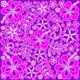 Hibiscus Pink and Purple Pattern Stock Photo