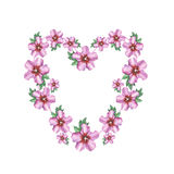 Hibiscus rose flower background heart wreath frame in watercolor drawing. Stock Photography