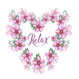 Hibiscus rose flower background heart wreath frame in watercolor drawing. Relax hand writing. Stock Images