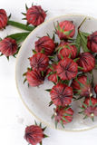 Hibiscus or roselle fruits in plate on white wooden table. Royalty Free Stock Photography