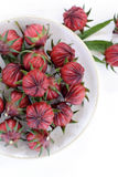 Hibiscus or roselle fruits in a plate on white wooden table. Stock Images