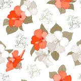 Hibiscus seamless pattern Stock Photography
