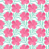 Hibiscus. Seamless pattern with flowers and palm leaves. Hand-drawn background. Vector illustration. Real watercolor drawing Stock Photo