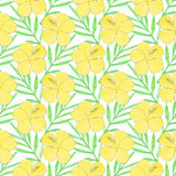 Hibiscus. Seamless pattern with flowers and palm leaves. Hand-drawn background. Vector illustration. Royalty Free Stock Image