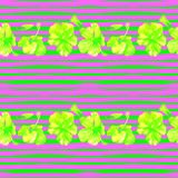 Hibiscus Seamless Pattern with Lines. Swimwear Design.  Hand Painted Illustration of Tropical Leaves and Flowers Summer Hawaiian Pattern.  Aloha Fabric Stock Photography