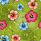 Hibiscus Seamless Pattern. Seamless pattern with hibiscus swirls and halftone elements in the back. CMYK EPS8 vector illustration with global colors Stock Photography