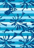 Hibiscus stripes pattern. Vector illustration of a tropical floral repeat pattern Royalty Free Stock Photography